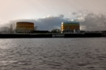 Flood defences, Gas Towers and Sky